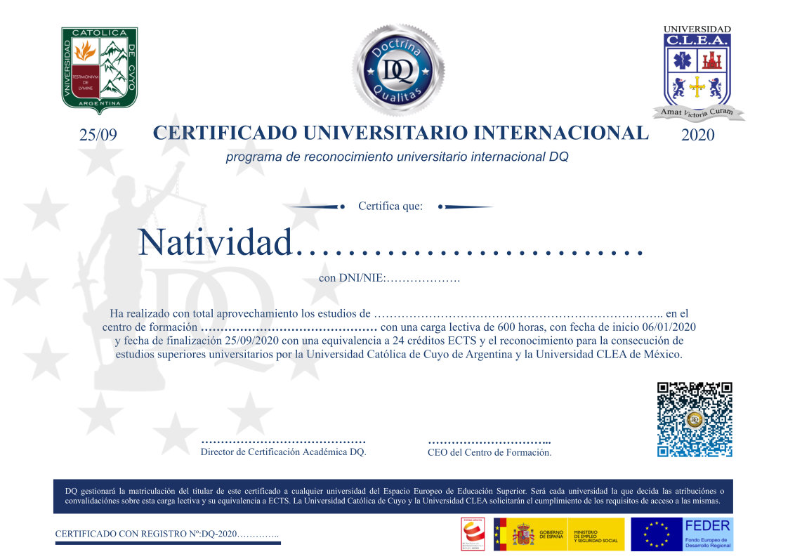 Agencia Universitaria Ejemplo Certificado Universitario Internacional